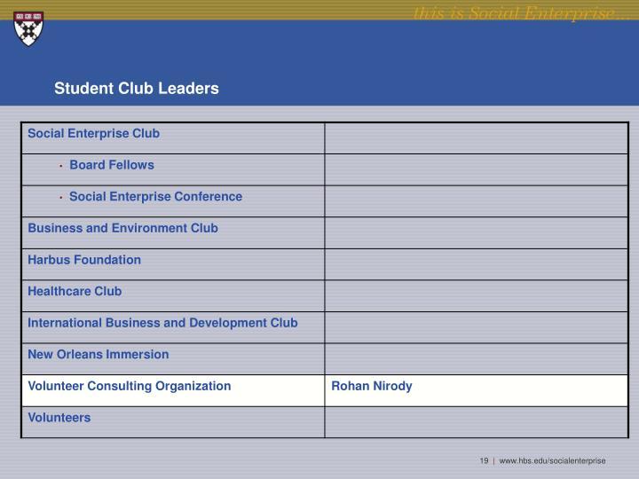 Student Club Leaders