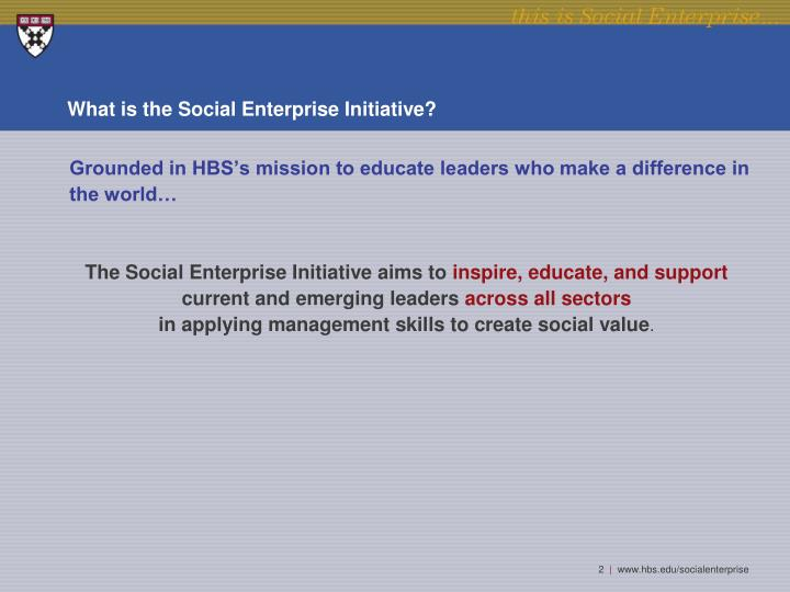 What is the social enterprise initiative