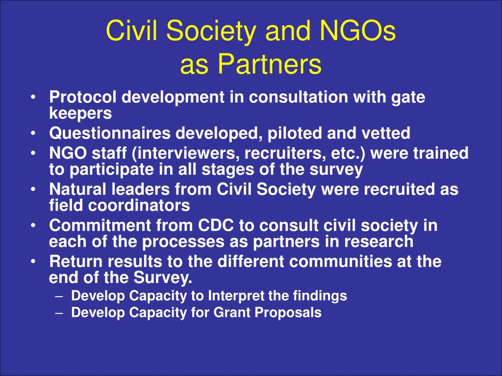 Civil Society and NGOs