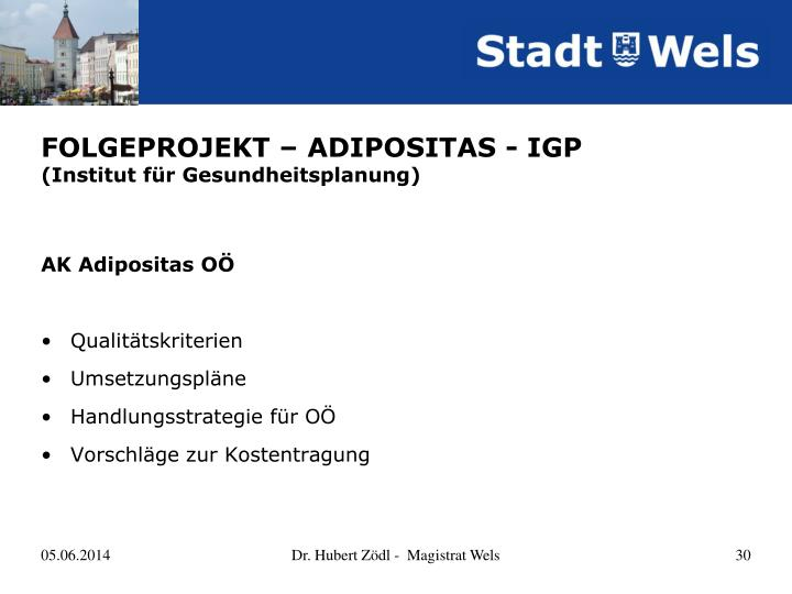 FOLGEPROJEKT – ADIPOSITAS - IGP