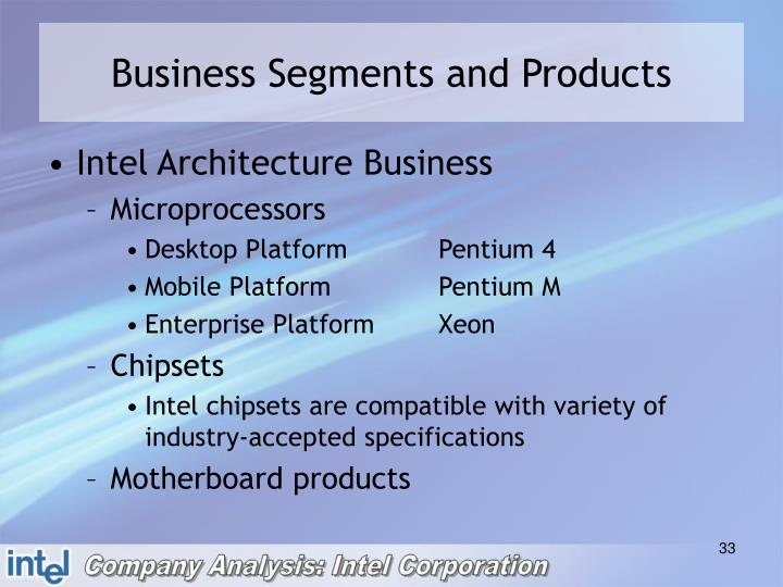 Business Segments and Products