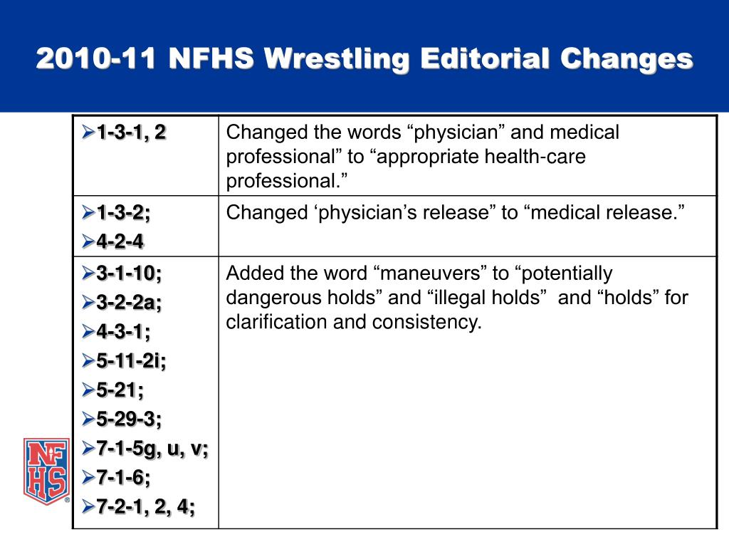 2010-11 NFHS Wrestling Editorial Changes