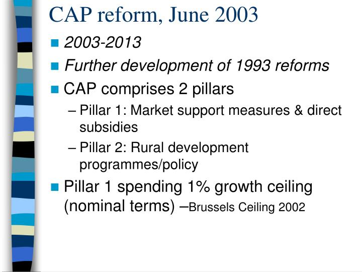 CAP reform, June 2003