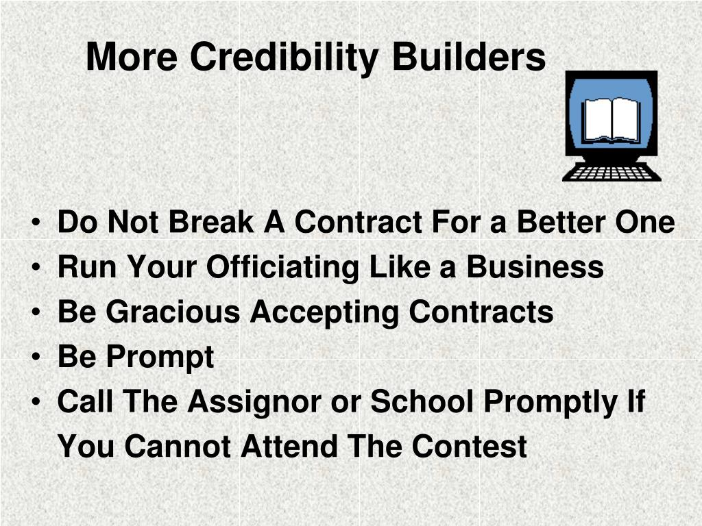 More Credibility Builders