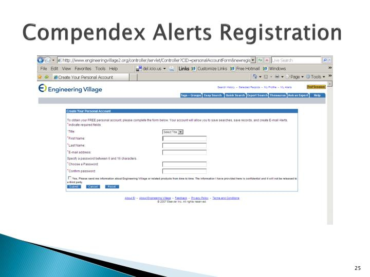 Compendex Alerts Registration