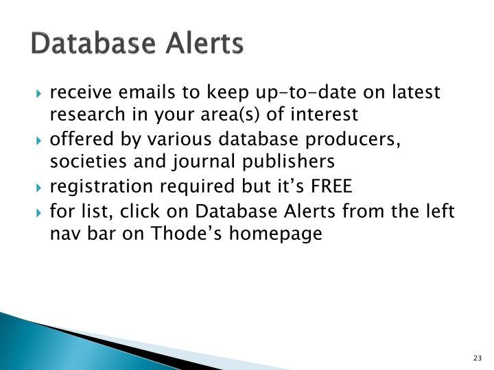 Database Alerts
