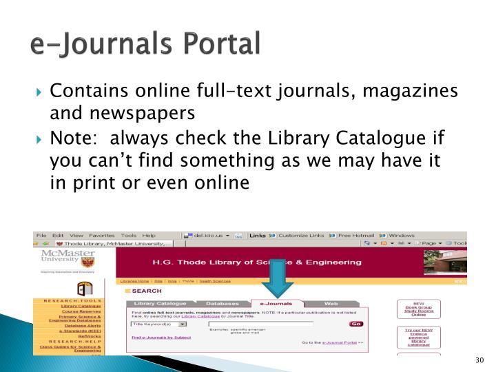 e-Journals Portal