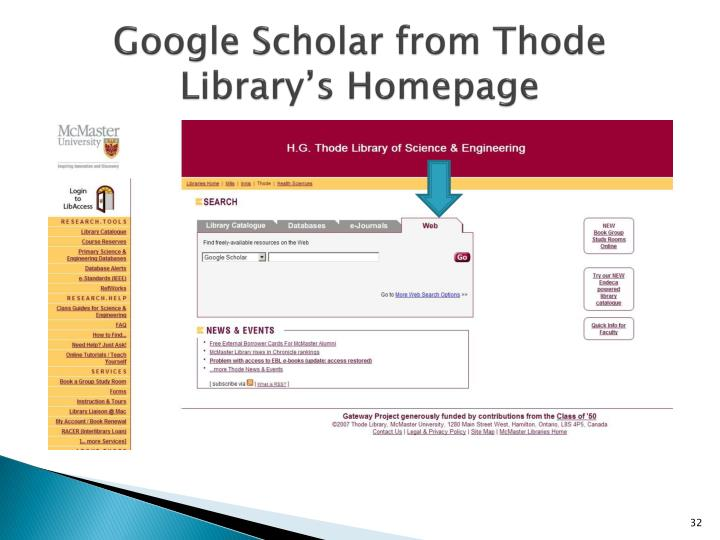 Google Scholar from Thode Library's Homepage