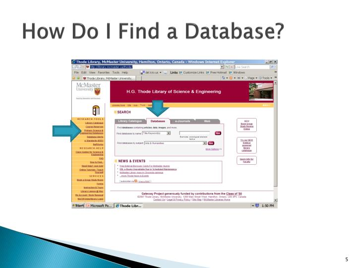 How Do I Find a Database?