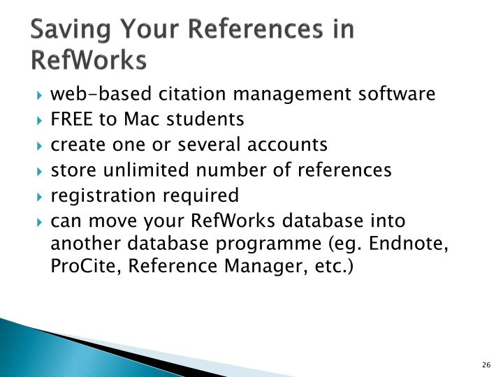 Saving Your References in RefWorks