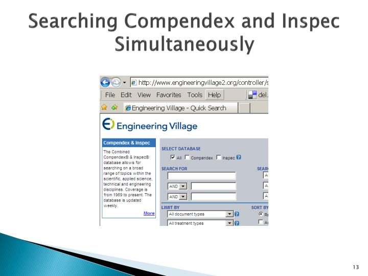 Searching Compendex and Inspec Simultaneously
