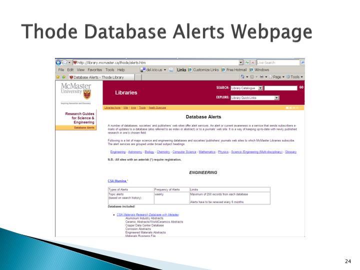 Thode Database Alerts Webpage