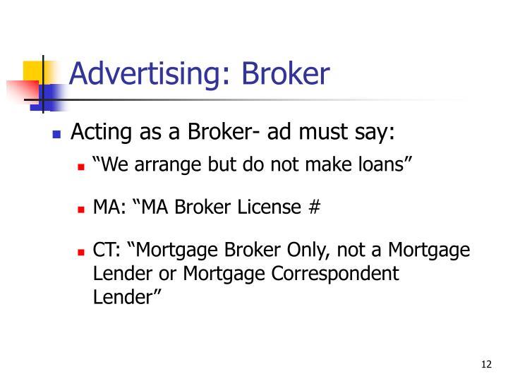 Advertising: Broker