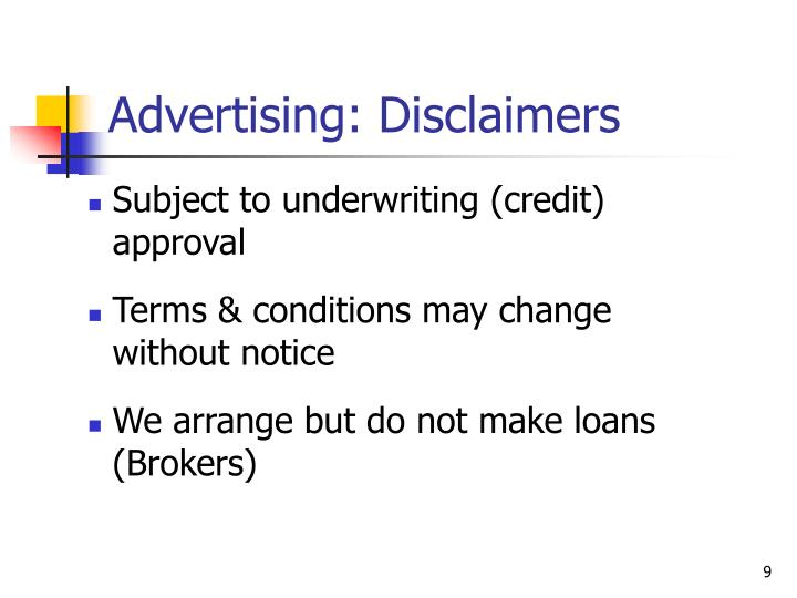 Advertising: Disclaimers