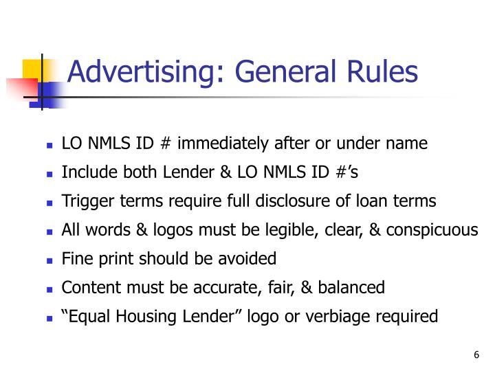 Advertising: General Rules
