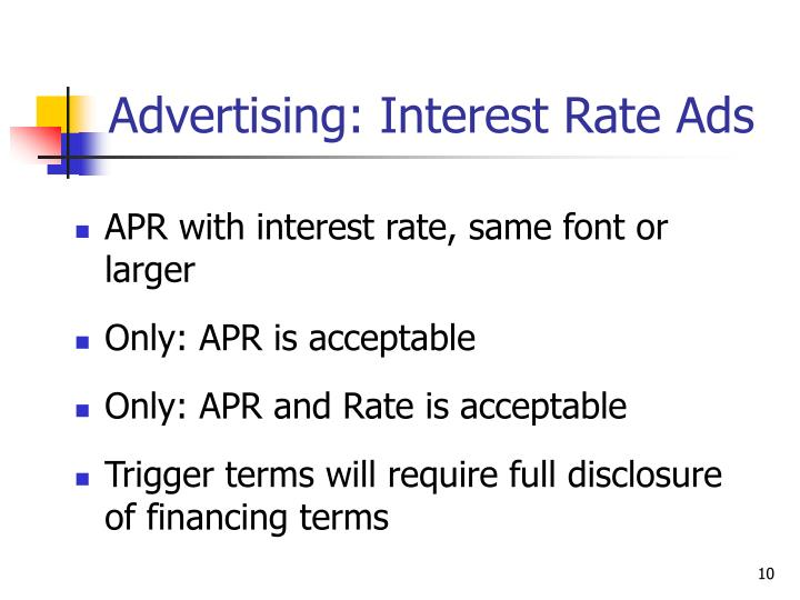 Advertising: Interest Rate Ads