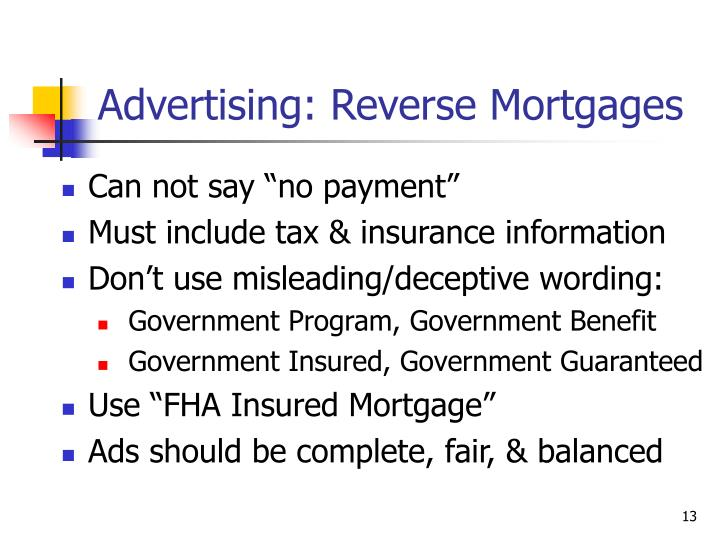 Advertising: Reverse Mortgages