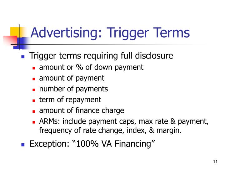 Advertising: Trigger Terms