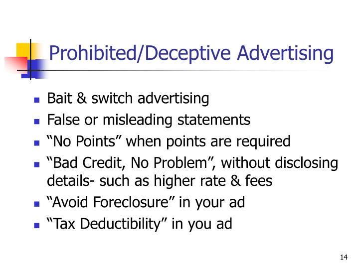 Prohibited/Deceptive Advertising