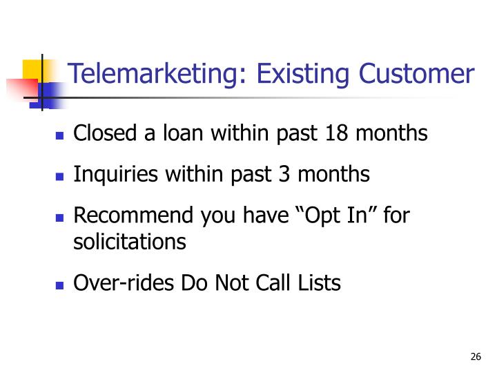 Telemarketing: Existing Customer