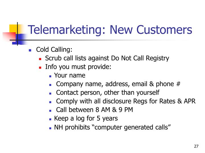 Telemarketing: New Customers