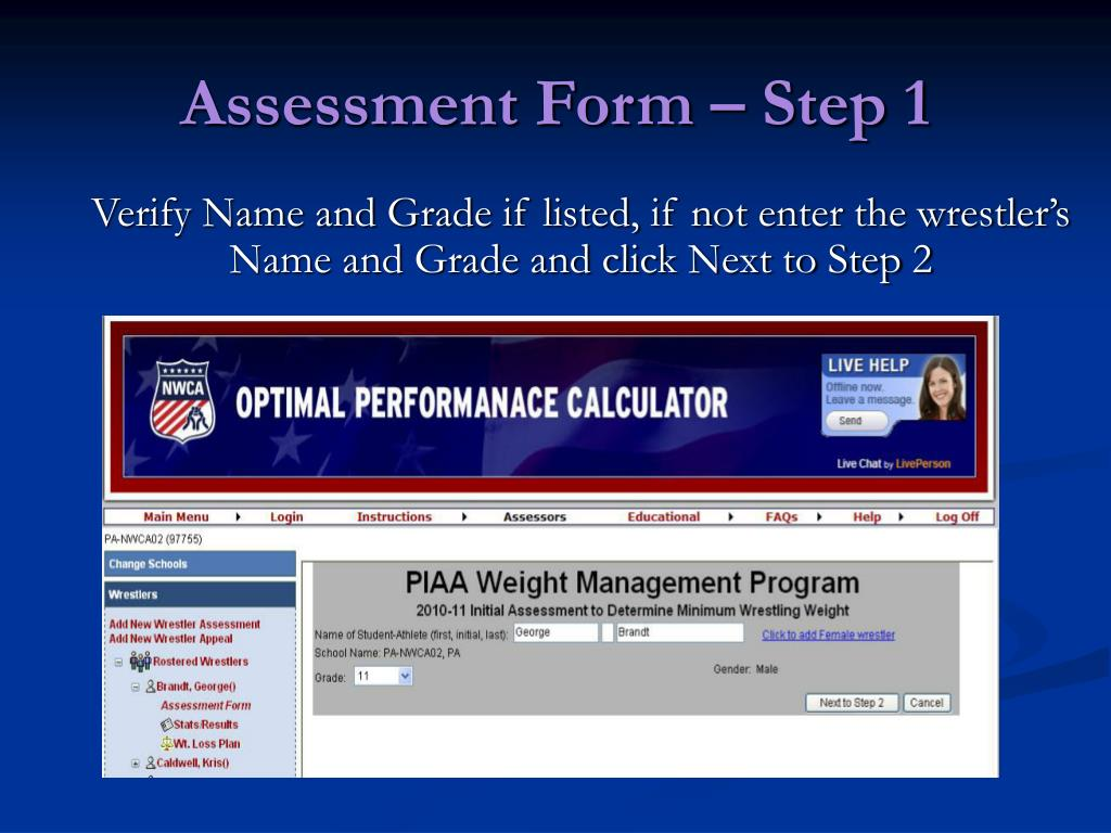 Assessment Form – Step 1