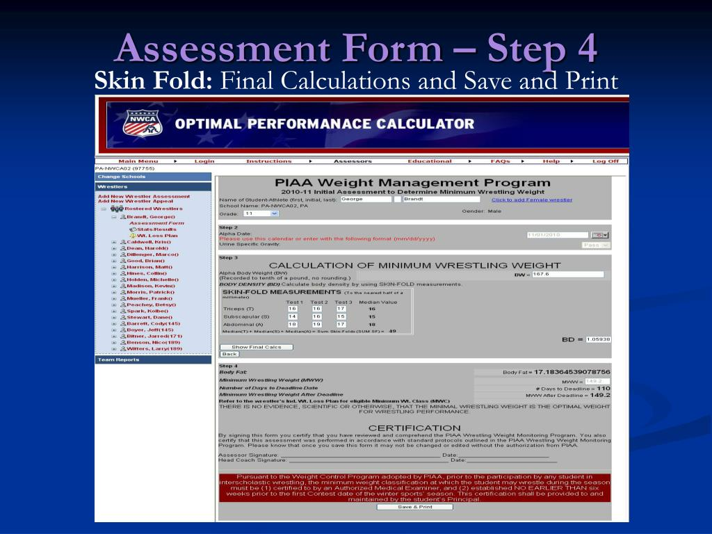 Assessment Form – Step 4