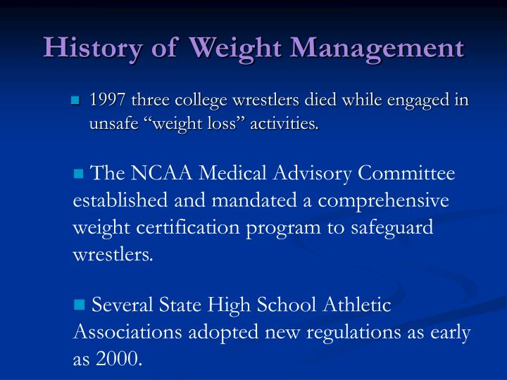 History of weight management l.jpg