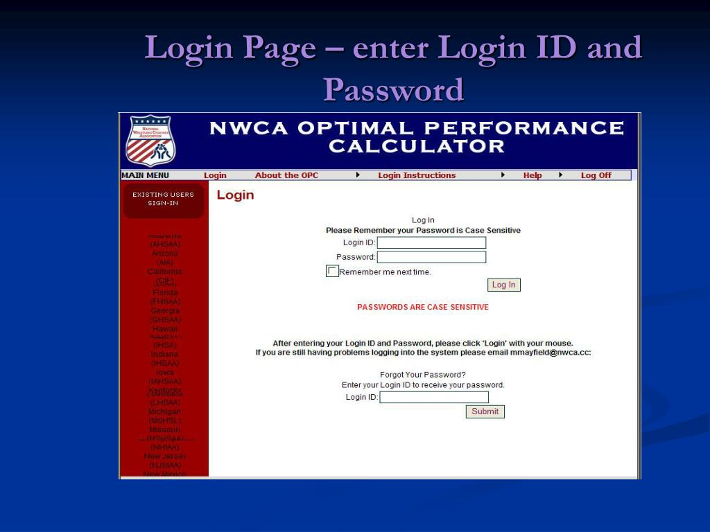 Login Page – enter Login ID and Password