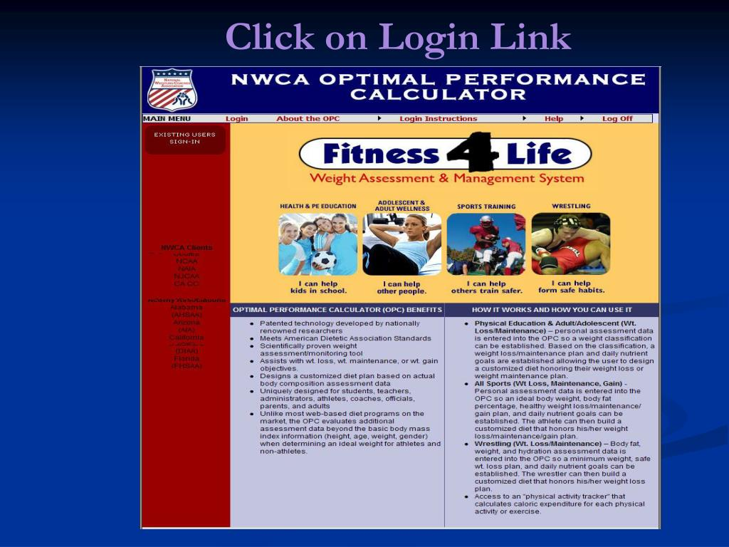 Click on Login Link