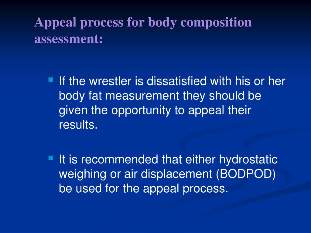 Appeal process for body composition assessment: