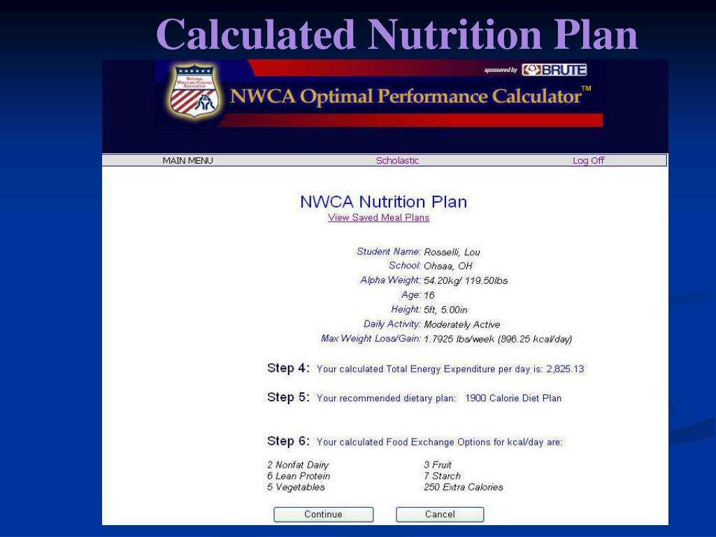 Calculated Nutrition Plan