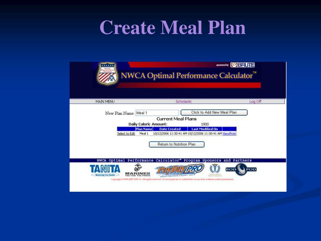 Create Meal Plan