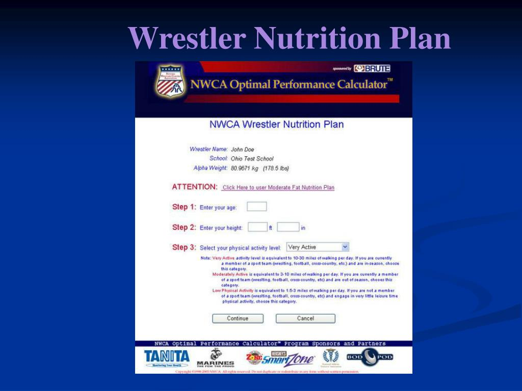 Wrestler Nutrition Plan