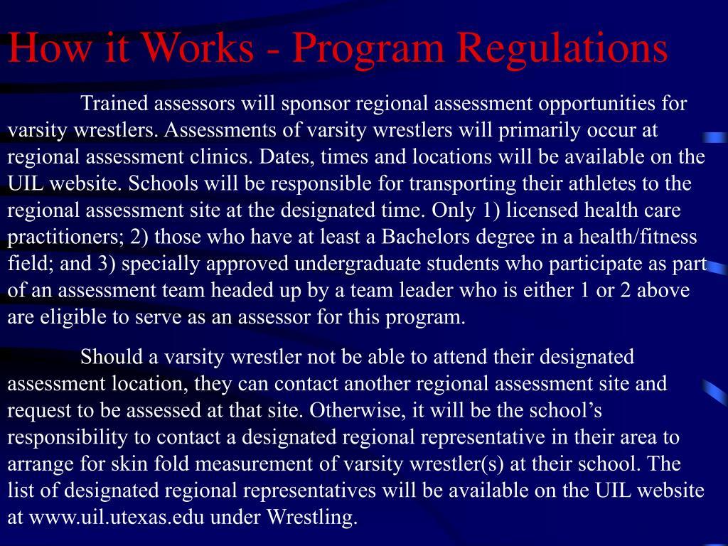 How it Works - Program Regulations