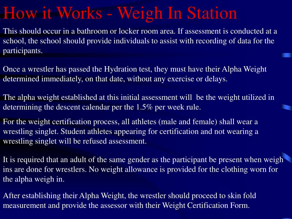 How it Works - Weigh In Station