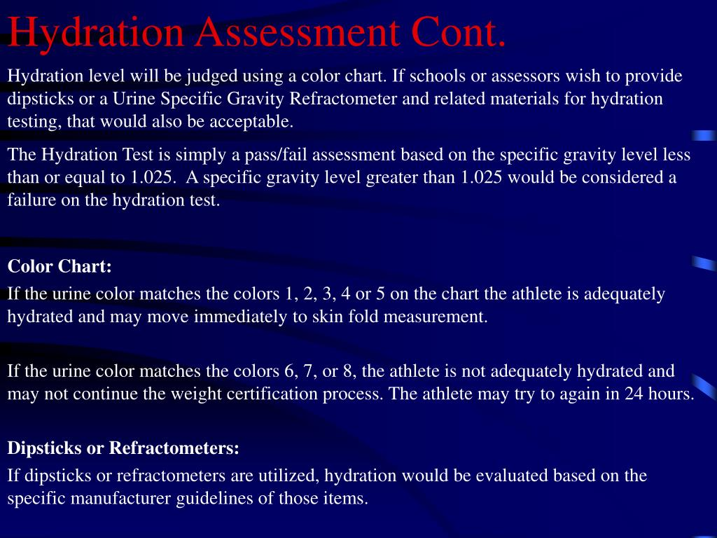 Hydration Assessment Cont.
