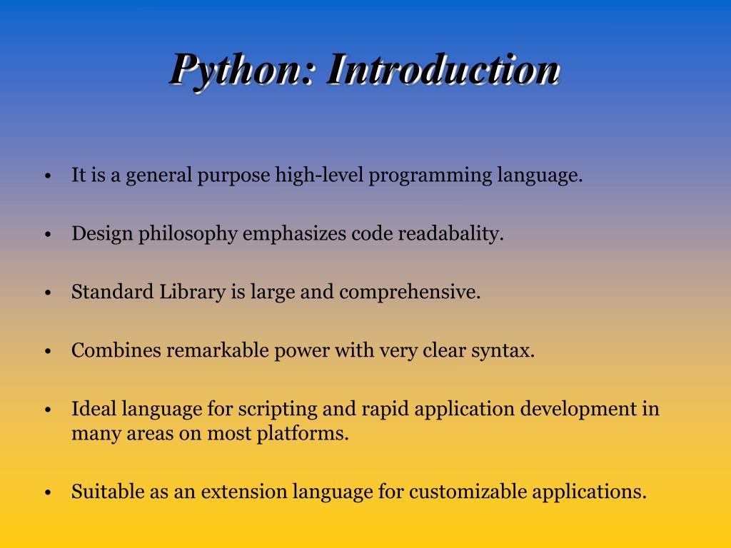 Python: Introduction