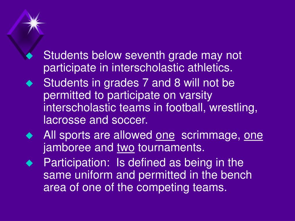 Students below seventh grade may not participate in interscholastic athletics.