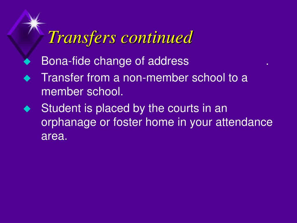 Transfers continued