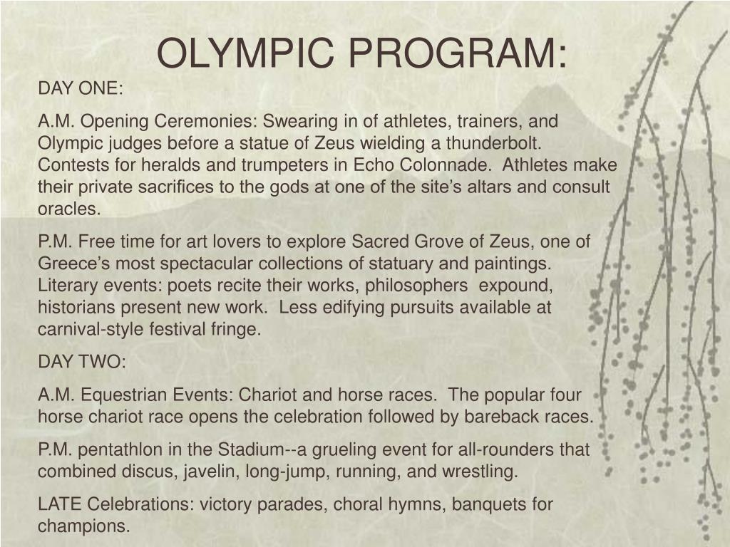 OLYMPIC PROGRAM: