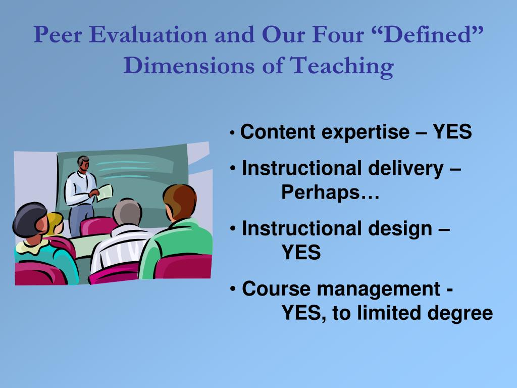 "Peer Evaluation and Our Four ""Defined"" Dimensions of Teaching"