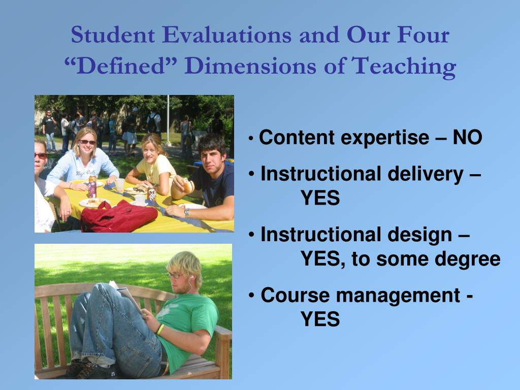 "Student Evaluations and Our Four ""Defined"" Dimensions of Teaching"