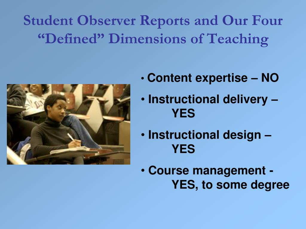 "Student Observer Reports and Our Four ""Defined"" Dimensions of Teaching"