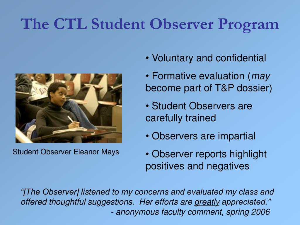 Student Observer Eleanor Mays