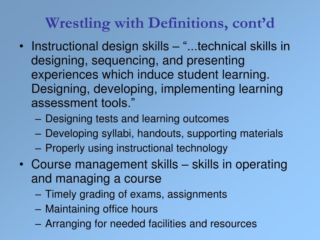 Wrestling with Definitions, cont'd