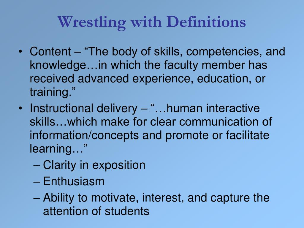 Wrestling with Definitions