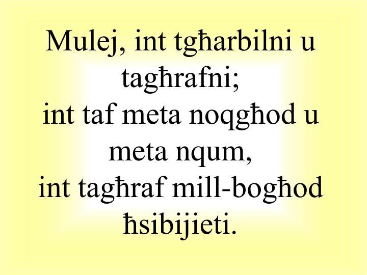 Mulej, int tgħarbilni u tagħrafni;