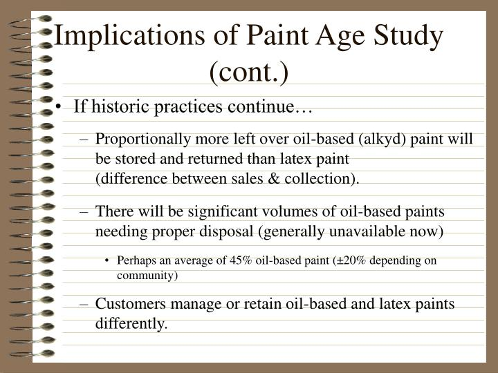 Implications of Paint Age Study (cont.)