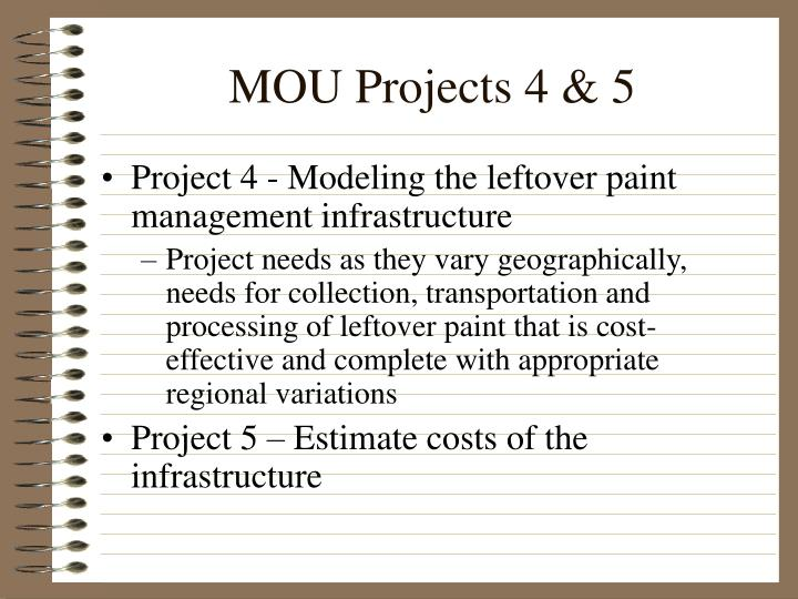 MOU Projects 4 & 5